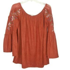 UMGEE Fo Suede Embroidered Bell Sleeve Top